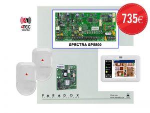 Συναγερμός σπιτιού Paradox SP 5500 με Τηλεφωνητή,Touch screen πληκτρολόγιο & 2 Radar