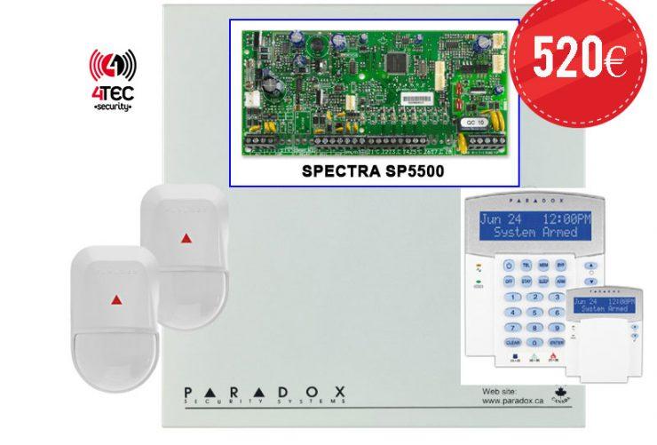 Σύστημα συναγερμού σπιτιού, τιμές σε Paradox SP 5500 με 2 Radar Paradox NV5 και LCD πληκτρολόγιο