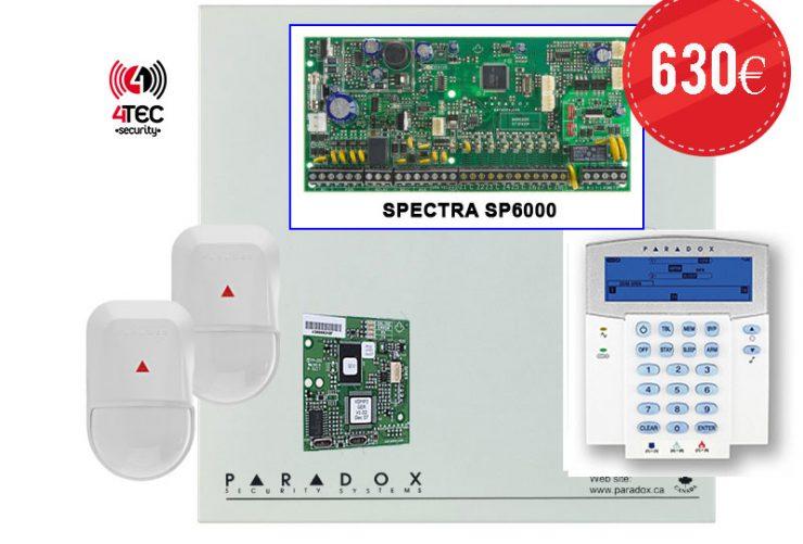 Paradox SP 6000 – Συναγερμός με Τηλεφωνητή, πληκτρολόγιο Paradox K35 ICON Lcd, 15 παγίδες και 2 radar